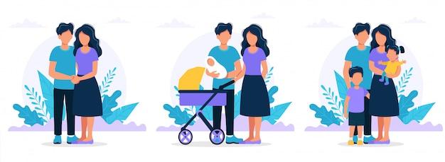 Família em diferentes estágios. casal jovem, pais com um recém-nascido, pais com filhos.