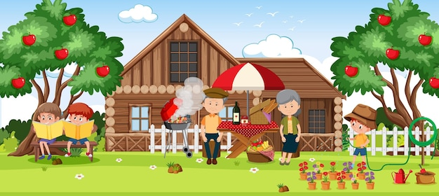 Família em férias relaxantes