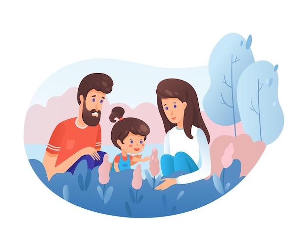 Família em ilustração da natureza, menina brincando com flores silvestres, pais felizes perto