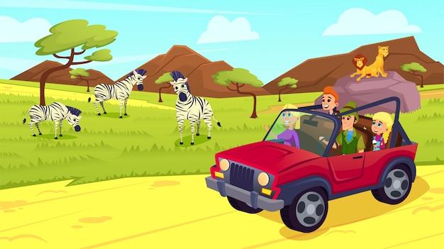 Família em jipe no safari na áfrica ou zoológico ao ar livre