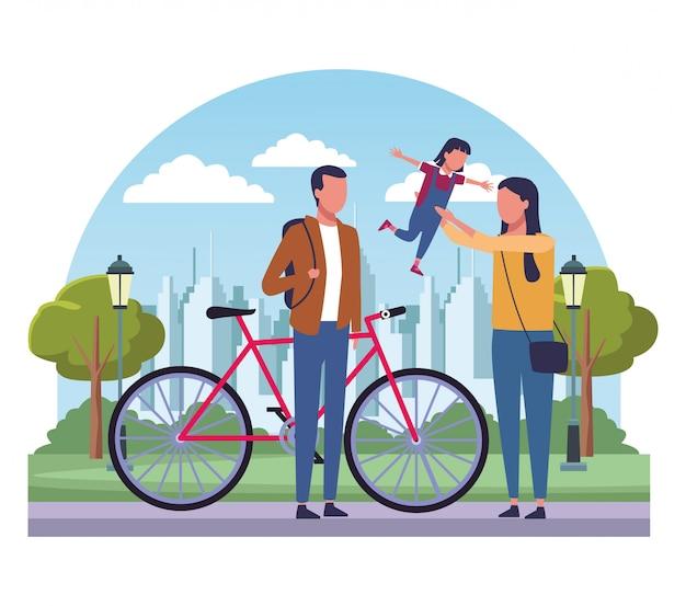 Família, em, parque, desenhos animados