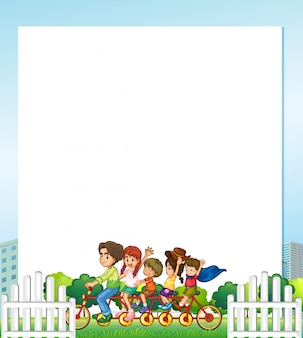 Família, em, parque, fundo, ilustração