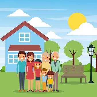 Família em pé na casa da frente com o dia do sol da lâmpada do banco