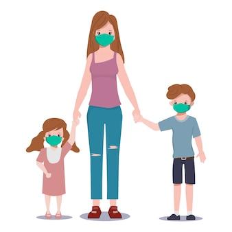 Família em quarentena usando máscara facial
