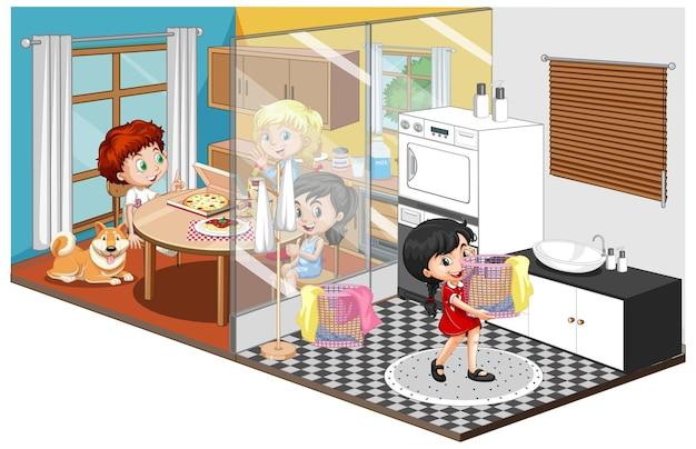 Família em quartos diferentes isolados no branco