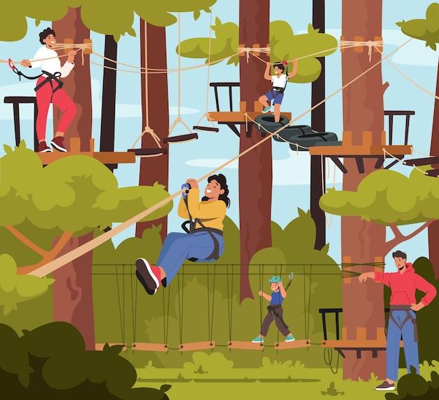 Família em rope park, personagens de pai, mãe e filhos superam obstáculos