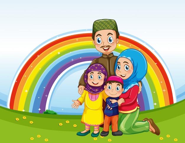 Família em roupas tradicionais com fundo arco-íris