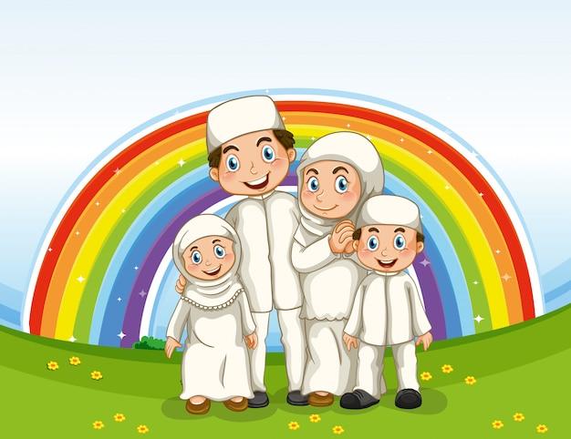 Família em roupas tradicionais e plano de fundo do arco-íris