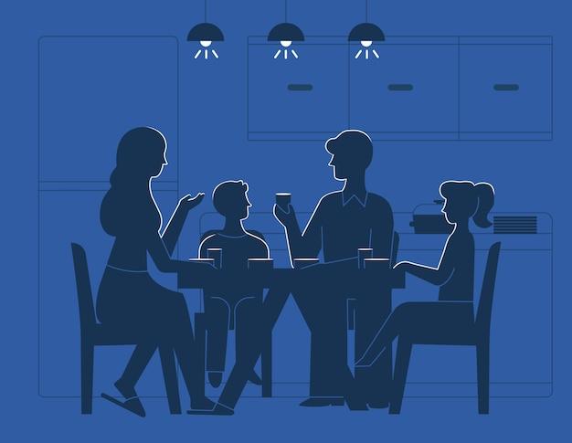 Família, em, tabela jantar, ilustração
