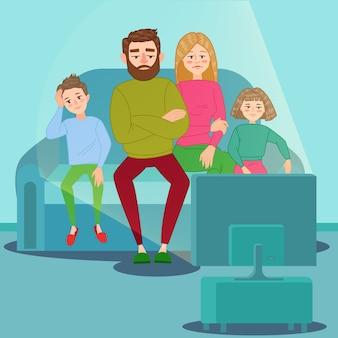 Família entediada assistindo televisão