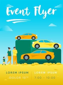 Família escolhendo carro novo em modelo de folheto de loja de automóveis