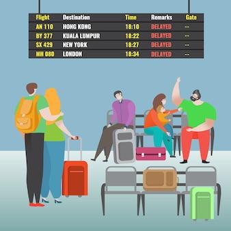 Família espera atraso avião personagem masculino feminino ilustração. lindo casal em pé bagagem, par juro situação estressante.