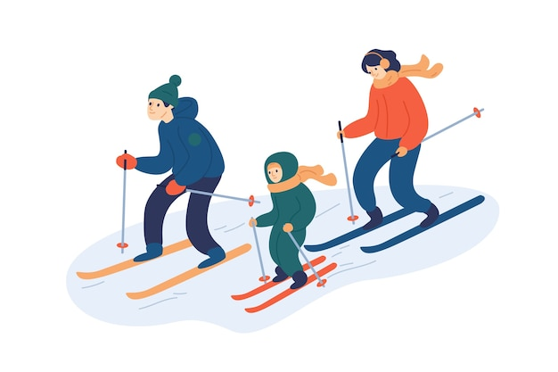 Família esquiando junta