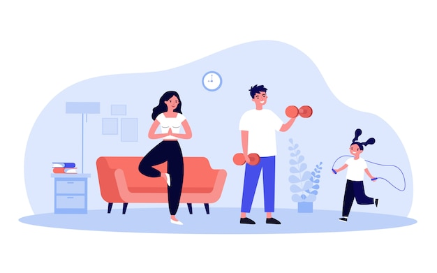 Família exercitando em casa