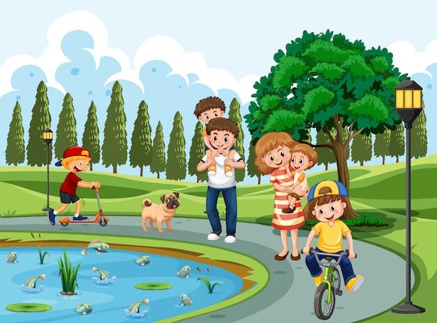 Família, exercitar, em, um, parque