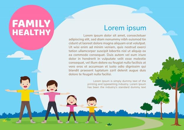 Família exercitar-se juntamente com o modelo de plano de fundo de conceito saudável design