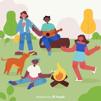 Família fazendo atividades ao ar livre