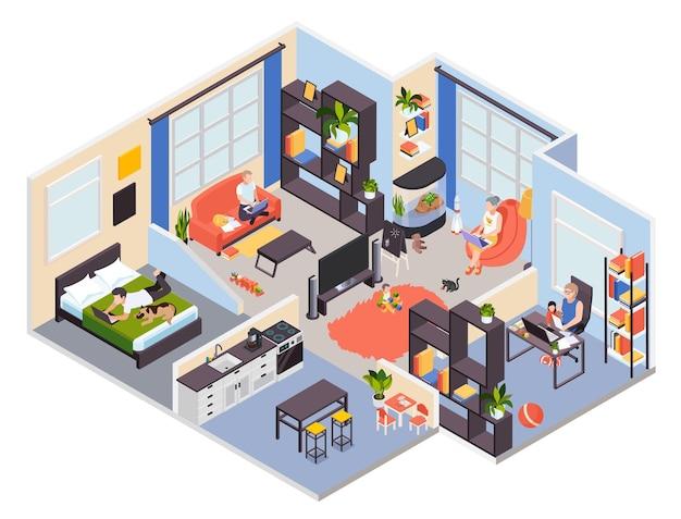 Família fazendo atividades em casa ilustração isométrica