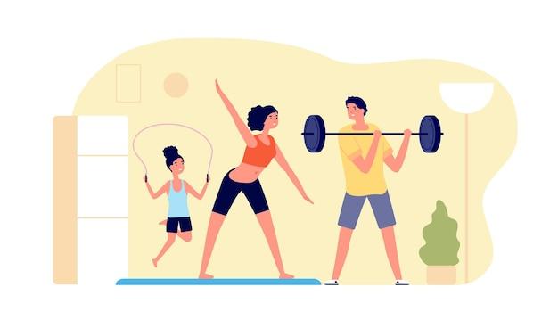 Família fazendo esportes em casa. treinamento físico, treino esportivo interno. mulher homem criança vida matinal ativa, ilustração em vetor pai mãe saudável. exercício pessoas treinam em casa, treinando família saudável