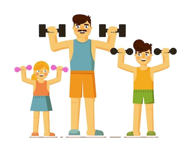 Família fazendo exercícios físicos