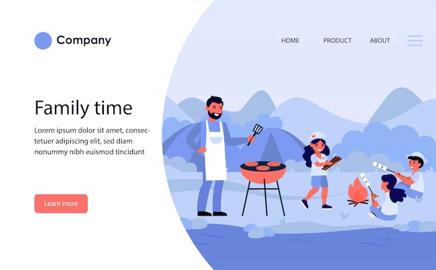 Família fazendo piquenique de churrasco na margem do rio. modelo de site ou página de destino