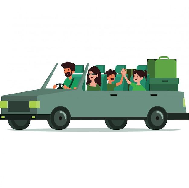 Família fazendo uma viagem de carro