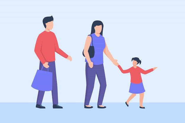 Família fazer compras com pai mãe e filha
