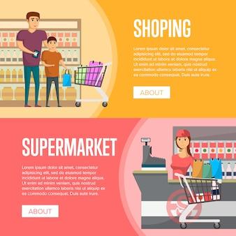 Família fazer compras em banners de supermercado