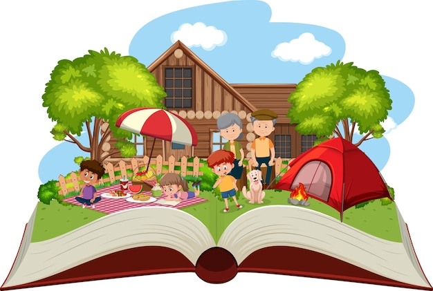 Família feliz acampando no jardim