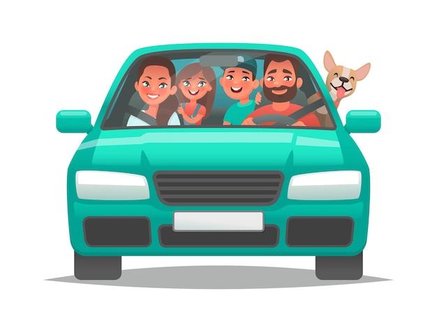 Família feliz andando de carro, pai, mãe, filhos e um cachorro foram de férias
