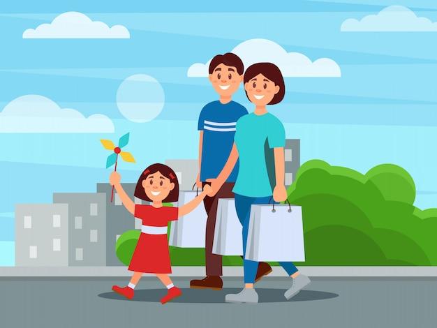 Família feliz andando pelo parque depois das compras. mãe, pai e filha deles. conceito de paternidade. pessoas dos desenhos animados. plano