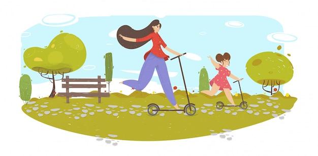 Família feliz ao ar livre, diversão e atividade esportiva.
