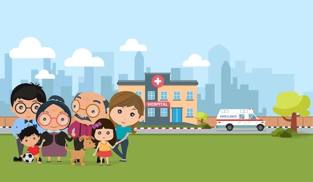 Família feliz ao ar livre. saúde das pessoas