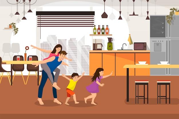 Família feliz, aproveitando o novo conceito de vetor de casa dos desenhos animados