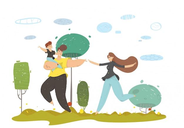 Família feliz artesanato com criança correndo no prado