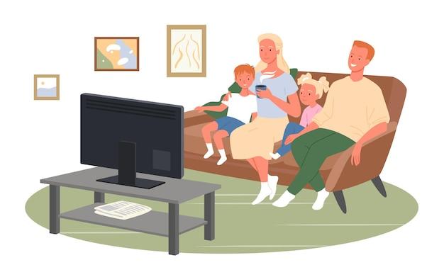 Família feliz assistindo tv ou filmes, sente-se no sofá de casa, ilustração vetorial assistindo televisão juntos