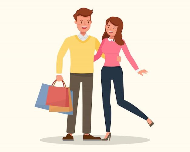Família feliz, casal de compras juntos.