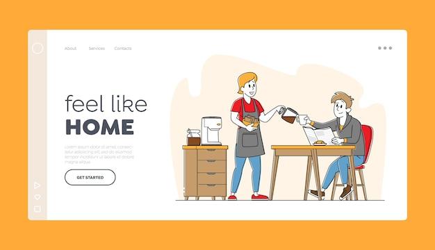 Família feliz casal personagens pequeno-almoço, modelo de página inicial.