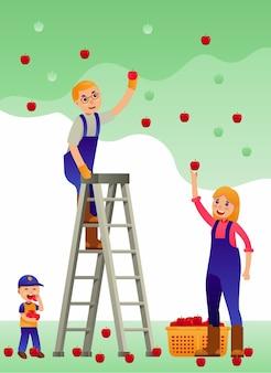 Família feliz, colheita, maçã