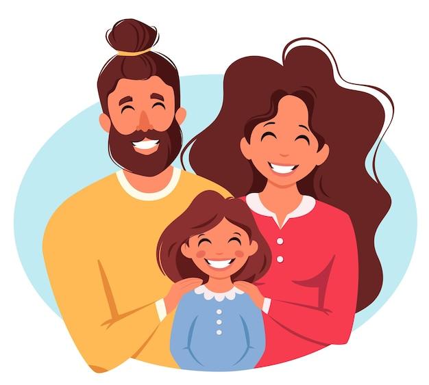Família feliz com a filha pais abraçando a criança