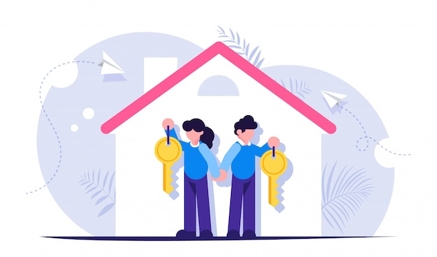 Família feliz com as chaves para um novo lar. ilustração sobre o tema dos empréstimos hipotecários