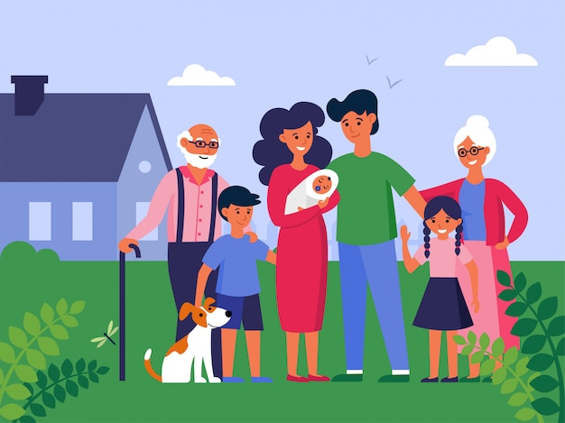Família feliz com avós e filhos em pé na casa
