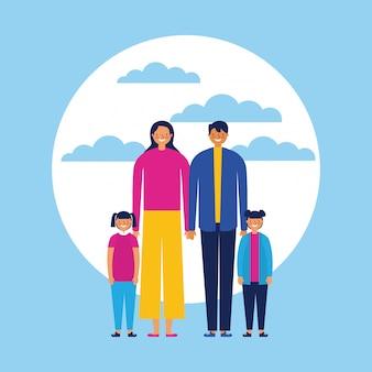 Família feliz com bebês, estilo simples
