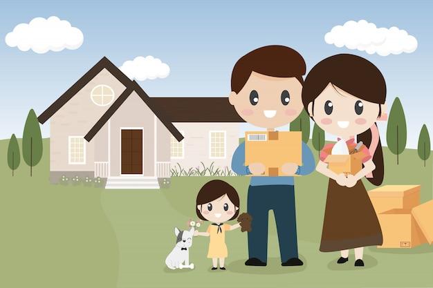 Família feliz com cão de estimação, movendo-se para nova casa