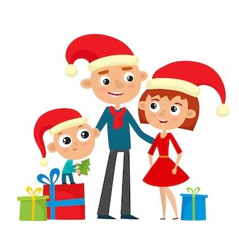 Família feliz com chapéu vermelho e presentes