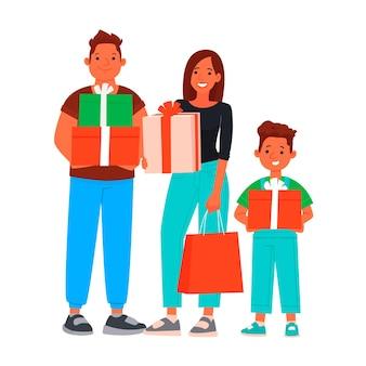 Família feliz com compras. descontos e vendas sazonais.