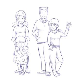 Família feliz, com, crianças jovens, mão, desenhado
