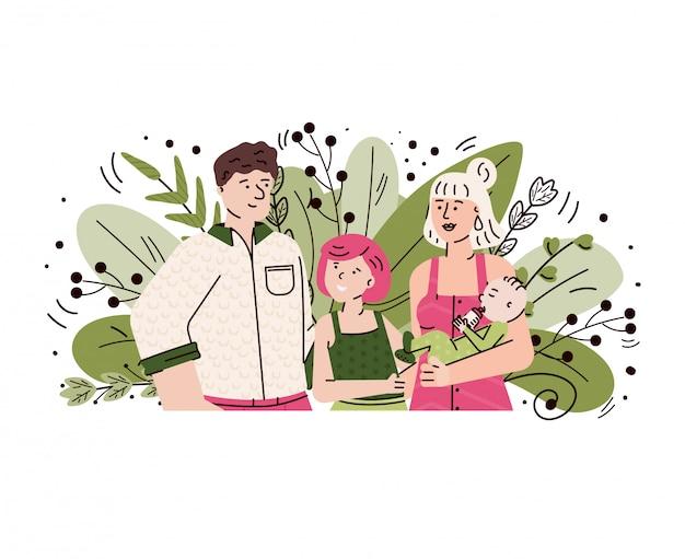 Família feliz com crianças sorrindo - casal de desenhos animados com bebê menino e menina