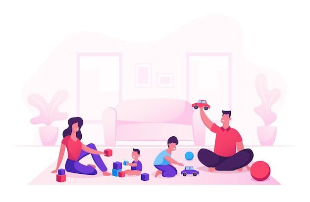 Família feliz com crianças, tempo de lazer à noite