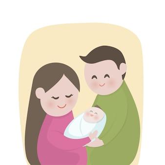 Família feliz, com, cute, recém nascido, bebê